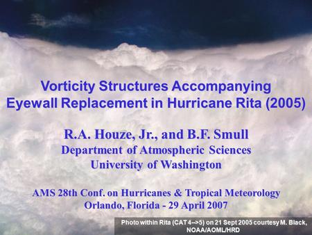 Vorticity Structures Accompanying Eyewall Replacement in Hurricane Rita (2005) R.A. Houze, Jr., and B.F. Smull Department of Atmospheric Sciences University.