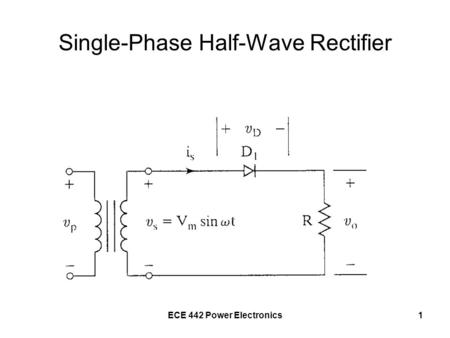 ECE 442 Power Electronics1 Single-Phase Half-Wave Rectifier.