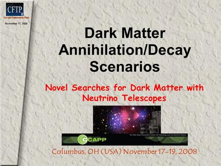 Sergio Palomares-Ruiz November 17, 2008 Dark Matter Annihilation/Decay Scenarios Novel Searches for Dark Matter with Neutrino Telescopes Columbus, OH (USA)