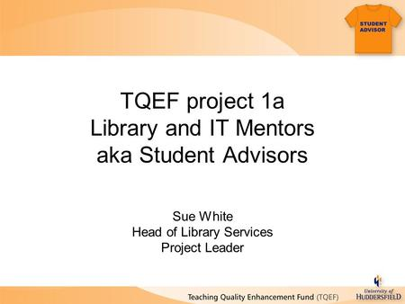 TQEF project 1a Library and IT Mentors aka Student Advisors Sue White Head of Library Services Project Leader.