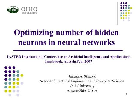 Optimizing number of hidden neurons in neural networks