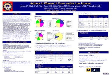 Printed by www.postersession.com Asthma in Women of Color and/or Low Income Noreen M. Clark, PhD, Molly Gong, MD, Sijian Wang, MS, Melissa Valerio, MPH,
