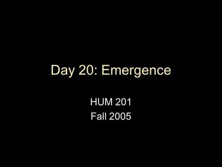 "Day 20: Emergence HUM 201 Fall 2005. Lessons of A Humement Movement & travel can take place ""in"" and ""through"" a cultural artifact, not only through 3-D."