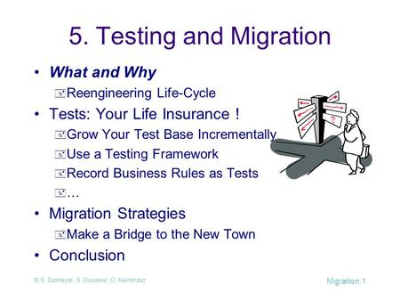 © S. Demeyer, S. Ducasse, O. Nierstrasz Migration.1 5. Testing and Migration What and Why  Reengineering Life-Cycle Tests: Your Life Insurance !  Grow.