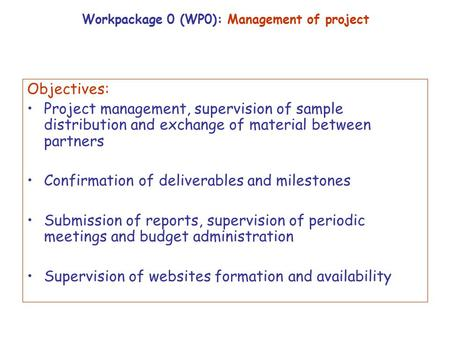 Workpackage 0 wp0 management of project ppt download - Project management office objectives ...