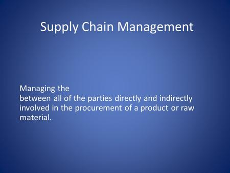 supply chain management paradigm and its