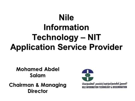 Nile Information Technology – NIT Application Service Provider