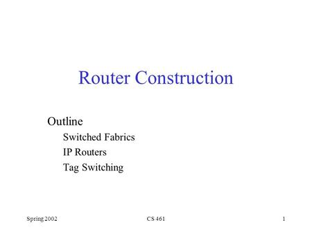 Spring 2002CS 4611 Router Construction Outline Switched Fabrics IP Routers Tag Switching.
