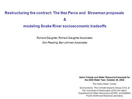 Restructuring the contract: The Nez Perce and Strawman proposals & modeling Snake River socioeconomic tradeoffs Richard Slaughter, Richard Slaughter Associates.