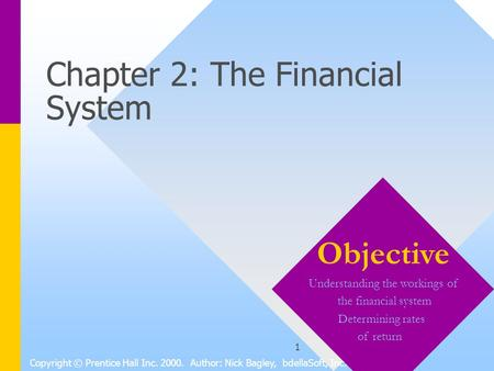 1 Chapter 2: The Financial System Copyright © Prentice Hall Inc. 2000. Author: Nick Bagley, bdellaSoft, Inc. Objective Understanding the workings of the.