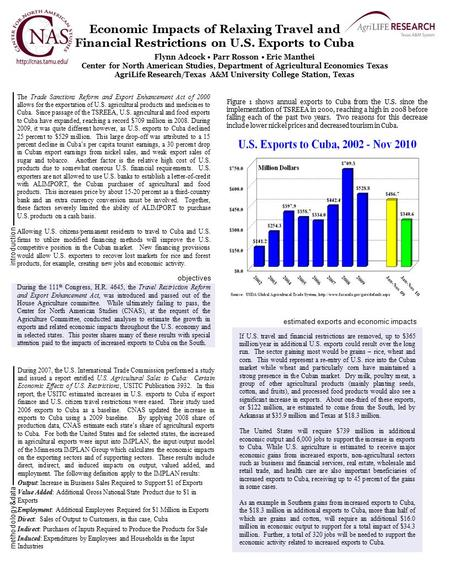 Economic Impacts of Relaxing Travel and Financial Restrictions on U.S. Exports to Cuba Flynn Adcock Parr Rosson Eric Manthei Center for North American.