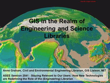 Anne Graham 6/20/2006 1 Session 2541 Staying Relevant to Our Users: How New Technologies are Redefining the Role of the (Engineering) Librarian GIS in.