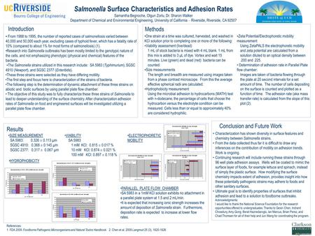 Salmonella Surface Characteristics and Adhesion Rates Samantha Begnoche, Olgun Zorlu, Dr. Sharon Walker Department of Chemical and Environmental Engineering,
