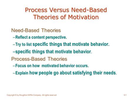 Process Versus Need-Based Theories of Motivation
