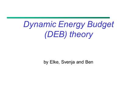 Dynamic Energy Budget (DEB) theory by Elke, Svenja and Ben.