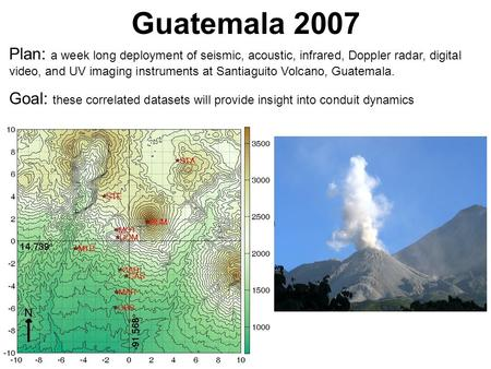 Guatemala 2007 Plan: a week long deployment of seismic, acoustic, infrared, Doppler radar, digital video, and UV imaging instruments at Santiaguito Volcano,