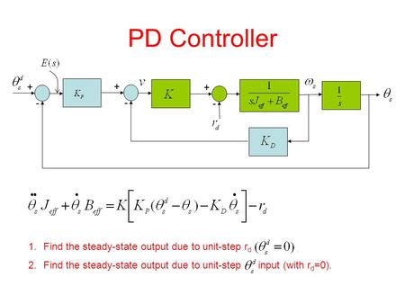 PD Controller 1.Find the steady-state output due to unit-step r d. 2.Find the steady-state output due to unit-step input (with r d =0). + - + - + -