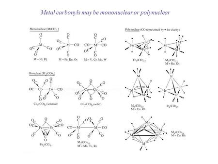 Metal carbonyls may be mononuclear or polynuclear.