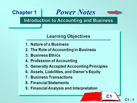 C1 - 1 Learning Objectives 1.Nature of a Business 2.The Role of Accounting in Business 3.Business Ethics 4.Profession of Accounting 5.Generally Accepted.