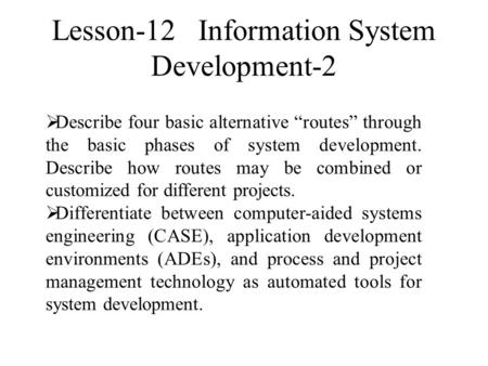 Lesson-12 Information System Development-2
