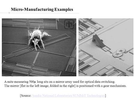 Micro-Manufacturing Examples A mite measuring 500  long sits on a mirror array used for optical data switching. The mirror [flat in the left image, folded.