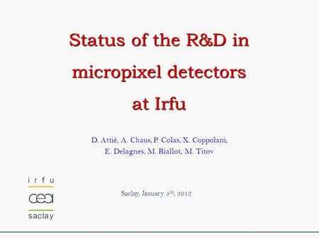 D. Attié, A. Chaus, P. Colas, X. Coppolani, E. Delagnes, M. Riallot, M. Titov Saclay, January 5 th, 2012 Status of the R&D in micropixel detectors at Irfu.