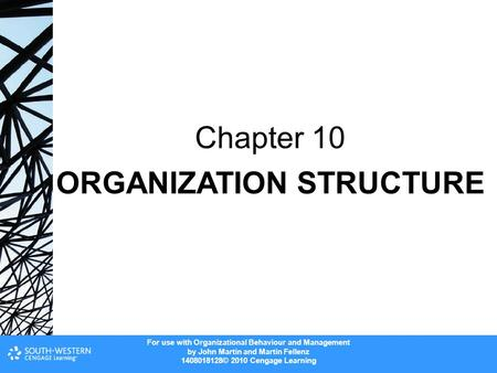 For use with Organizational Behaviour and Management by John Martin and Martin Fellenz 1408018128© 2010 Cengage Learning ORGANIZATION STRUCTURE Chapter.