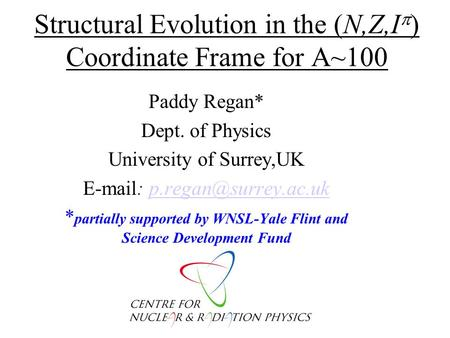 Structural Evolution in the (N,Z,I  ) Coordinate Frame for A~100 Paddy Regan* Dept. of Physics University of Surrey,UK