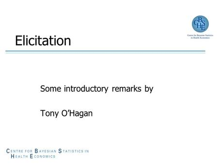 Elicitation Some introductory remarks by Tony O'Hagan.