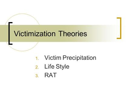 victimization theories essay