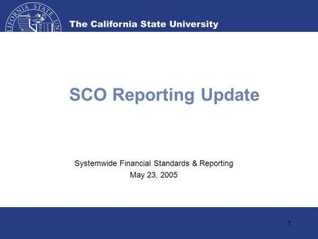 1 SCO Reporting Update Systemwide Financial Standards & Reporting May 23, 2005.