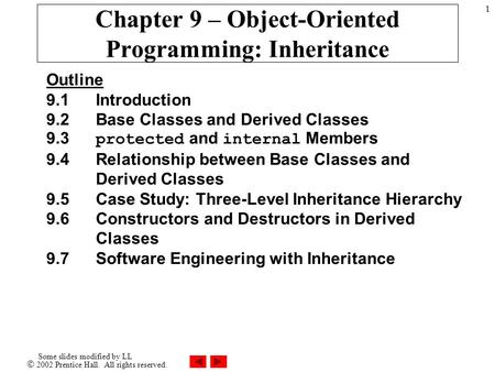  2002 Prentice Hall. All rights reserved. Some slides modified by LL 1 Chapter 9 – Object-Oriented Programming: Inheritance Outline 9.1Introduction 9.2Base.