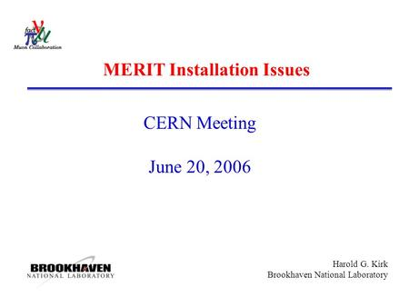 Harold G. Kirk Brookhaven National Laboratory MERIT Installation Issues CERN Meeting June 20, 2006.