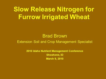 Slow Release Nitrogen for Furrow Irrigated Wheat Brad Brown Extension Soil and Crop Management Specialist 2010 Idaho Nutrient Management Conference Shoshone,