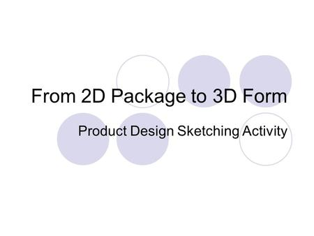 From 2D Package to 3D Form Product Design Sketching Activity.