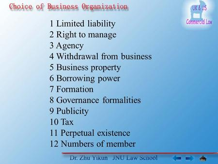 1 Limited liability 2 Right to manage 3 Agency 4 Withdrawal from business 5 Business property 6 Borrowing power 7 Formation 8 Governance formalities 9.