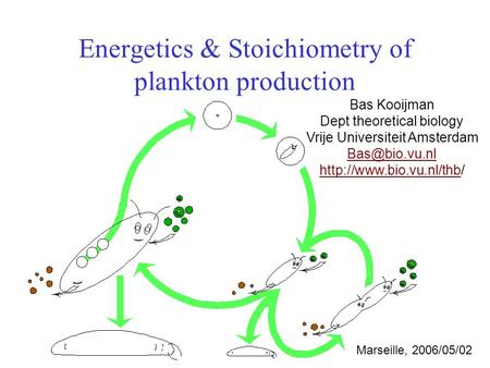 Energetics & Stoichiometry of plankton production Bas Kooijman Dept theoretical biology Vrije Universiteit Amsterdam