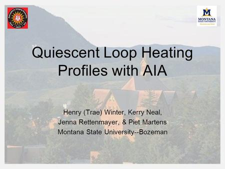 Quiescent Loop Heating Profiles with AIA Henry (Trae) Winter, Kerry Neal, Jenna Rettenmayer, & Piet Martens Montana State University--Bozeman.