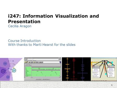 1 i247: Information Visualization and Presentation Cecilia Aragon Course Introduction With thanks to Marti Hearst for the slides.