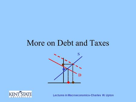 Lectures in Macroeconomics- Charles W. Upton More on Debt and Taxes.