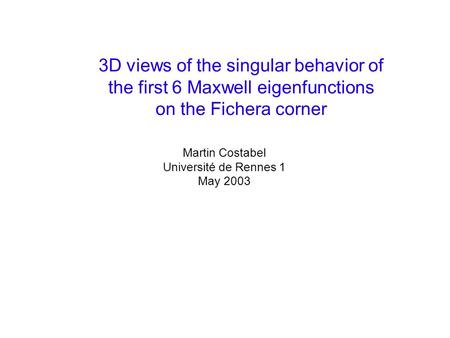 3D views of the singular behavior of the first 6 Maxwell eigenfunctions on the Fichera corner Martin Costabel Université de Rennes 1 May 2003.