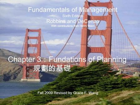 Chapter 3:Fundations of Planning 規劃的基礎