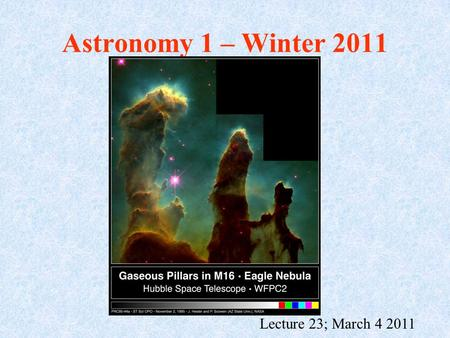 Astronomy 1 – Winter 2011 Lecture 23; March 4 2011.