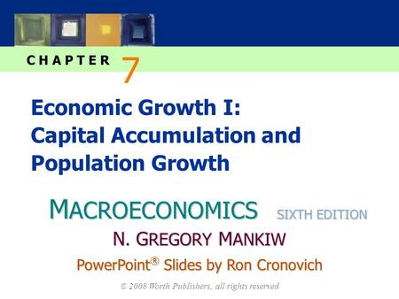 M ACROECONOMICS C H A P T E R © 2008 Worth Publishers, all rights reserved SIXTH EDITION PowerPoint ® Slides by Ron Cronovich N. G REGORY M ANKIW Economic.