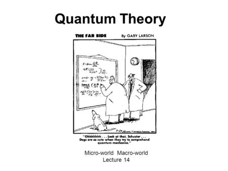 Quantum Theory Micro-world Macro-world Lecture 14.