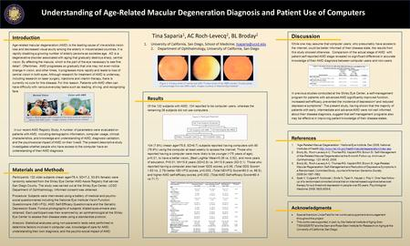 Understanding of Age-Related Macular Degeneration Diagnosis and Patient Use of Computers Tina Saparia 1, AC Roch-Levecq 2, BL Broday 2 1.University of.