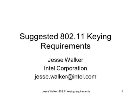 Jesse Walker, 802.11 keying requirements1 Suggested 802.11 Keying Requirements Jesse Walker Intel Corporation