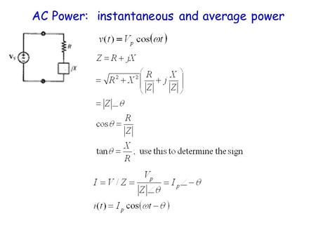 AC Power: instantaneous and average power