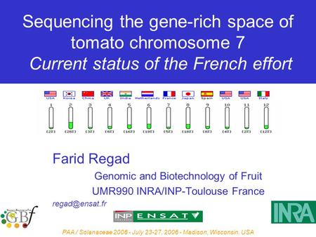 PAA / Solanaceae 2006 - July 23-27, 2006 - Madison, Wisconsin, USA Sequencing the gene-rich space of tomato chromosome 7 Current status of the French effort.