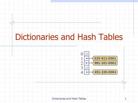 Dictionaries and Hash Tables1   0 1 2 3 4 451-229-0004 981-101-0002 025-612-0001.